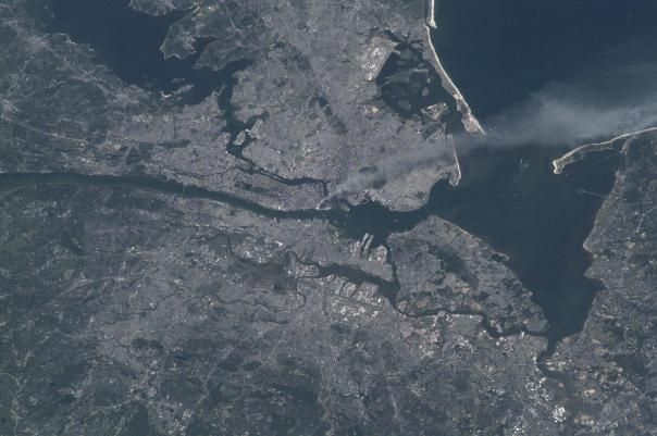Manhattan smoke plume on September 11, 2001 from International Space Station